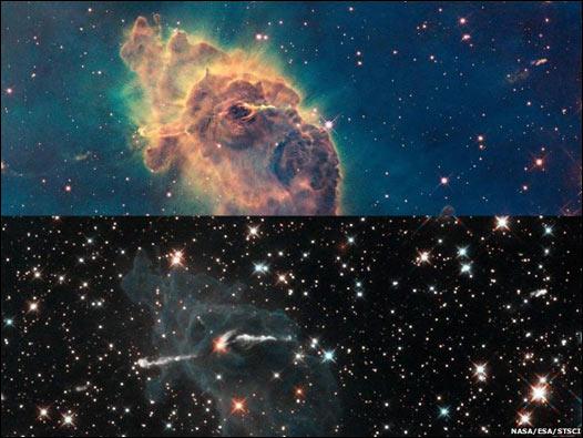 Imágenes de la nebulosa Carina, en la que se están formando nuevas estrellas.